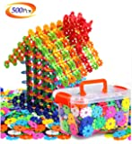 Building Block Toys of 500 Pieces, Gear Flakes Connect Interlocking Plastic Disc, A Creative and Educational Construction Toy Bricks - Best Gift for Boys and Girls