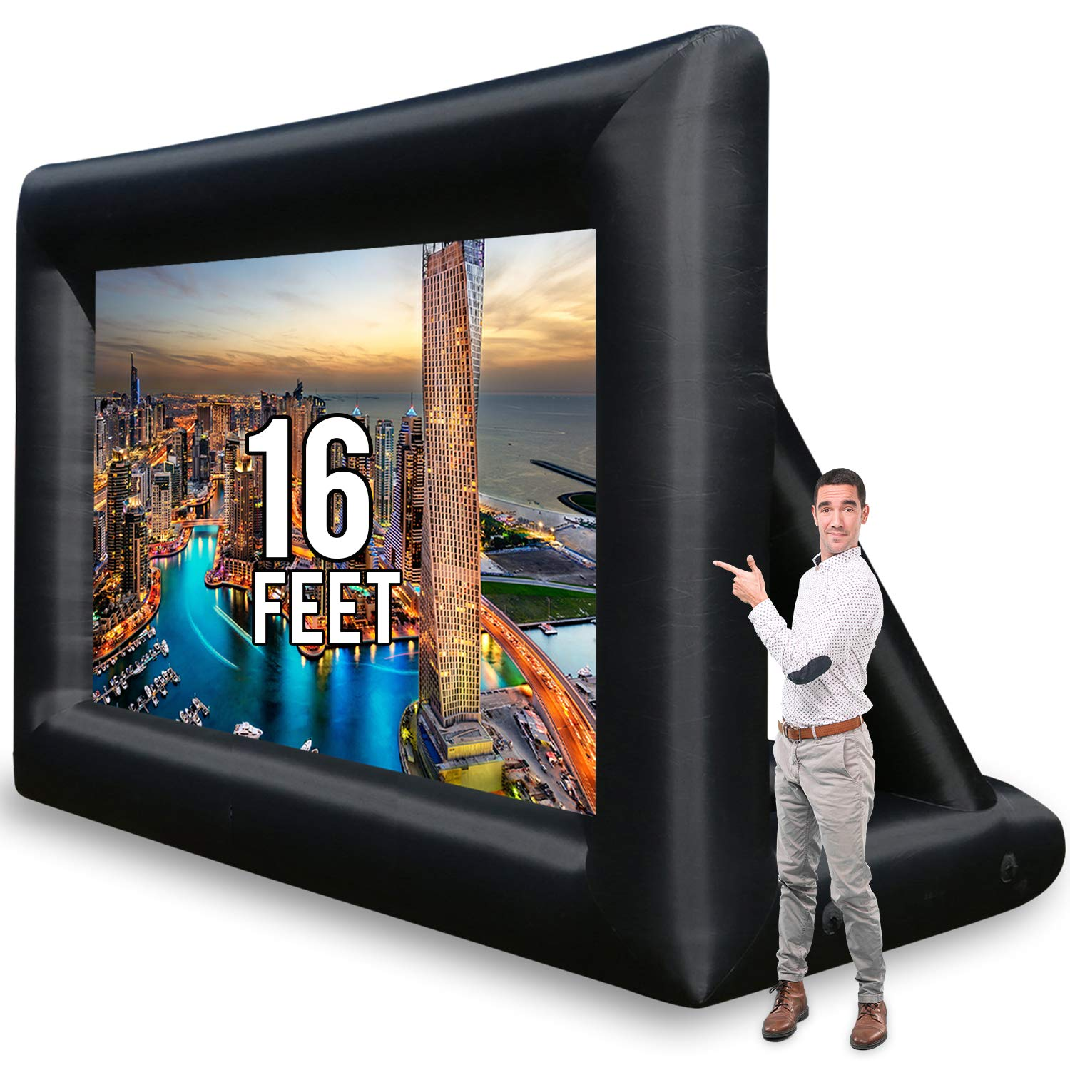 Jumbo 16 Feet Inflatable Outdoor and Indoor Theater Projector Screen - Includes Inflation Fan, Tie-Downs and Storage Bag by KHOMO GEAR