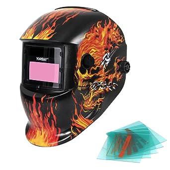 Yorbay Soldadores máscara de oscurecimiento automático de solar con 5 lentes de repuesto (fuego cráneo