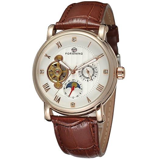 Forsining Hombres Colección Reloj de Pulsera de Marca Correa de Piel analógico Dial Automático fsg800 m3r2: Amazon.es: Relojes