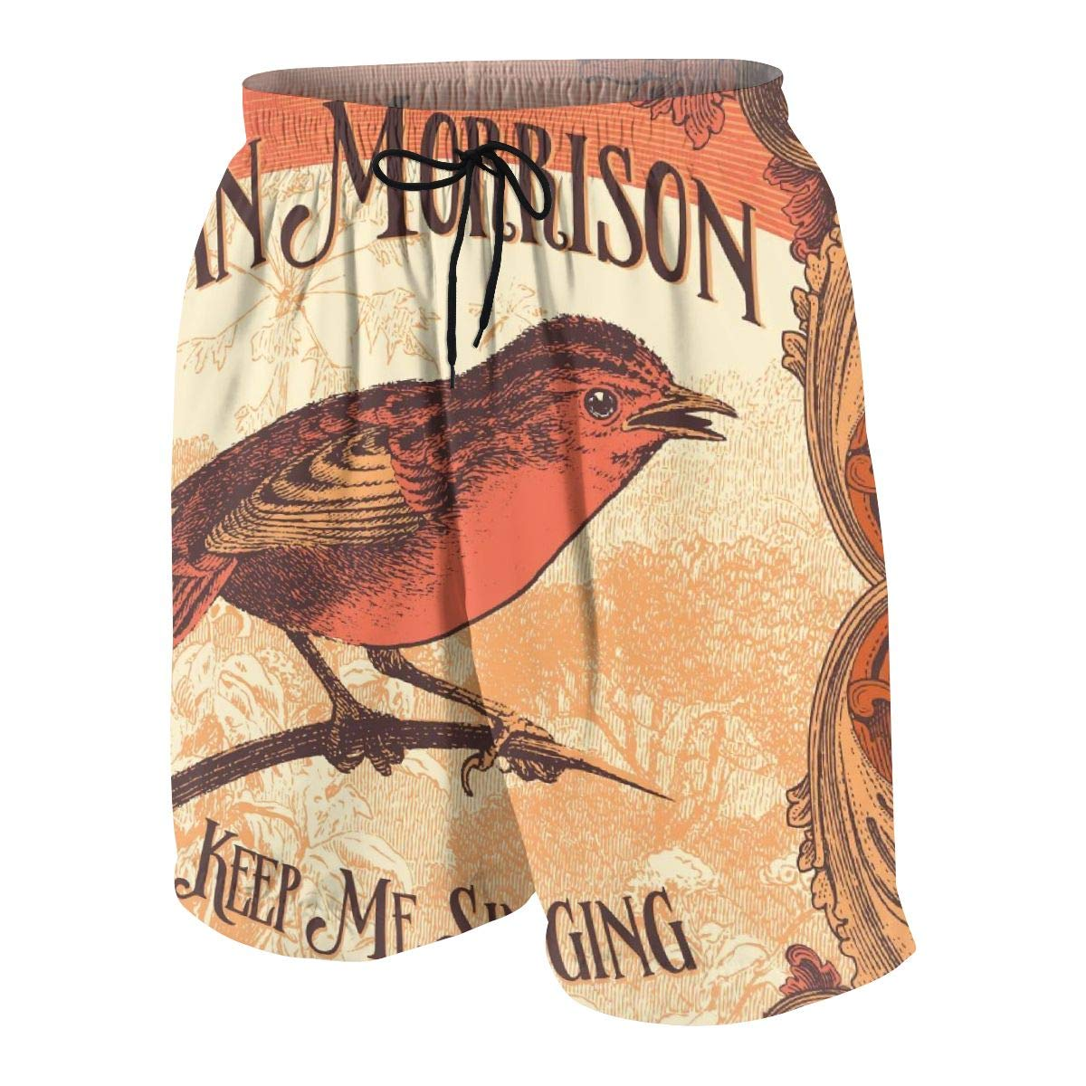 Van Morrison Summer Adolescent Man Leisure Quick Dry Surfing Beach Shorts Elastic Band Pocket Drawstring