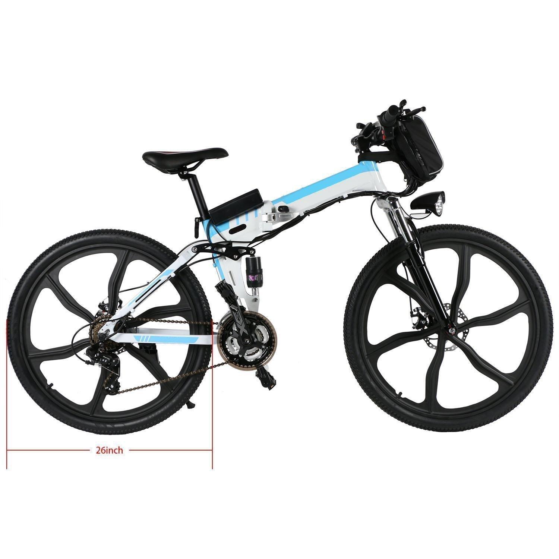 begorey Bicicleta de Montaña Electrica 26 Pulgadas 27 Velocidad Plegable Eléctrica Energía con Batería de Lon de Litio (Blanco): Amazon.es: Deportes y aire ...