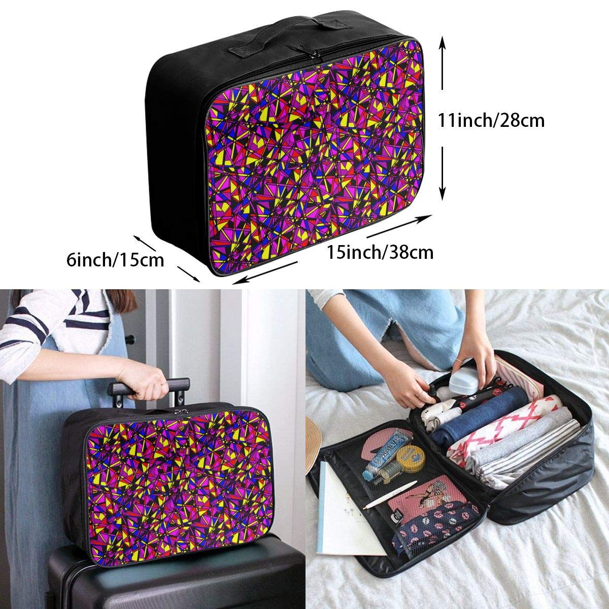 ADGAI Abstract Seamless Pattern with Neon Canvas Travel Weekender Bag,Fashion Custom Lightweight Large Capacity Portable Luggage Bag,Suitcase Trolley Bag