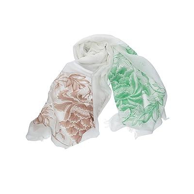 écharpe femme ROMEO GIGLI blanc pashmina fantaisie florale 100% viscose VN313