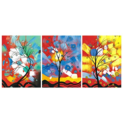 GEVES Modern Abstract Colorful Tree of Life Wall Art Giclee Print Canvas  Paintings Living Room Decoration Pictures Posters Framed Ready to Hang Home  ...