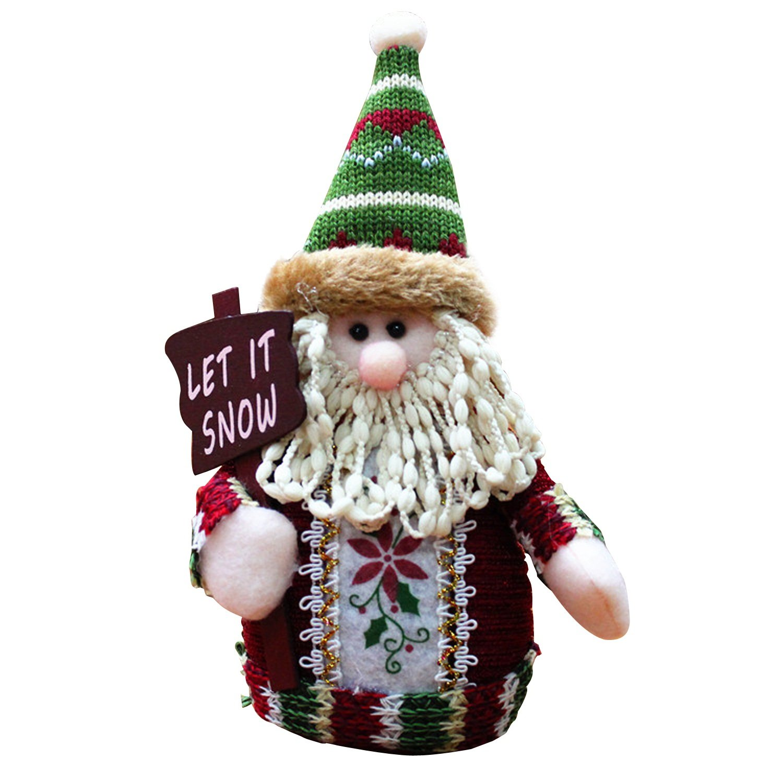 Amazon.com: 3PCS Christmas Decor Dolls Santa Claus Snowman Reindeer ...