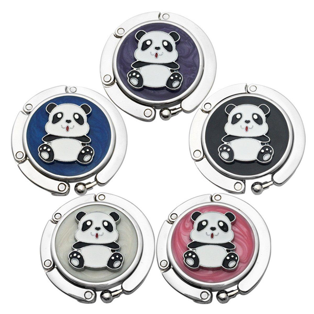 Reizteko Purse Hook,Cute Panda Foldable Handbag Purse Hanger Hook Holder for Tables (Pack of 5)