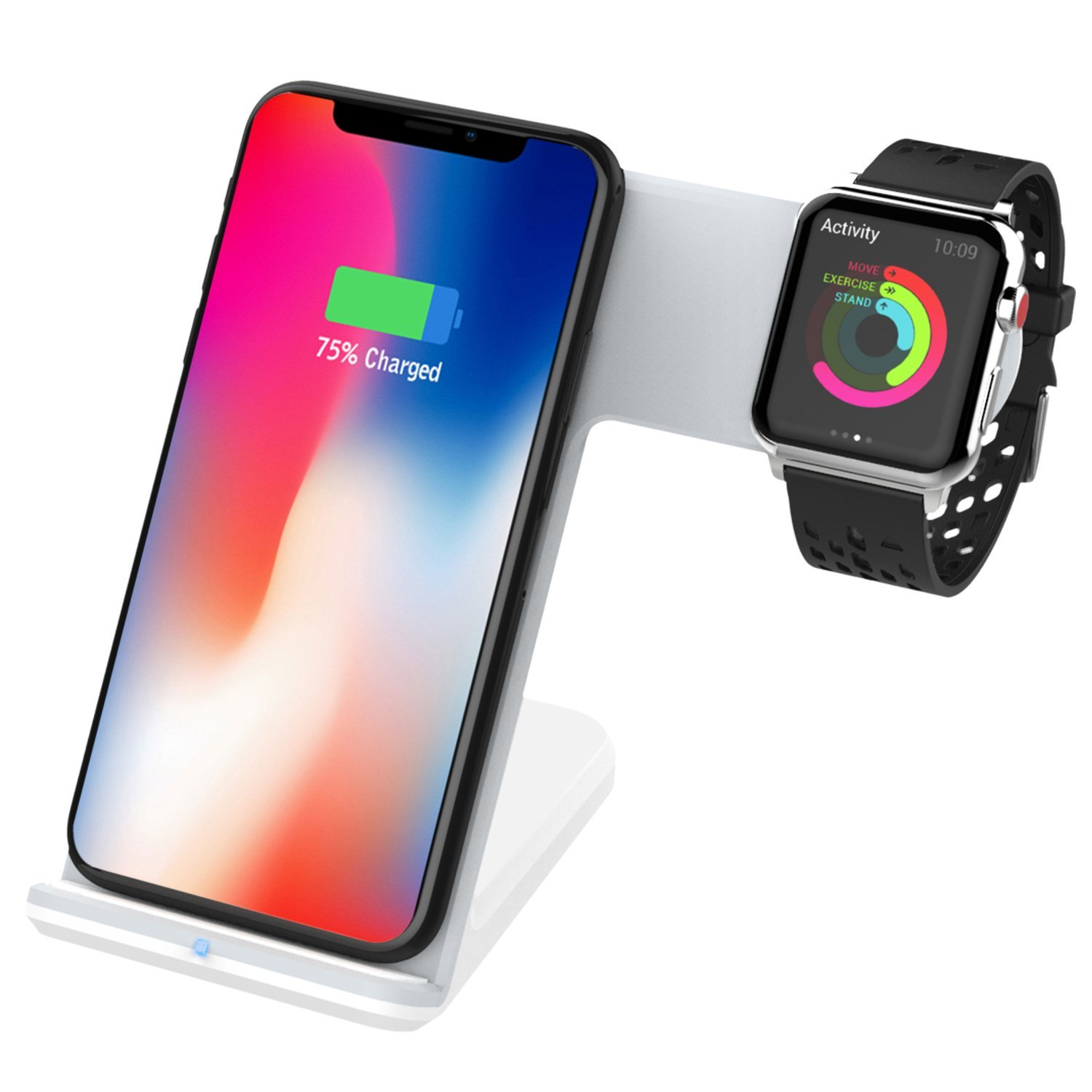 MoKo Qi Wireless  Charger Stand(Not Included Adapter), [2 in 1] Dual Qi Fast Charging Dock Compatible iWatch Series 2/3(Not Fit Series 4), iPhone XS/XR/XS MAX/X/8/8 Plus, Other Qi-Enabled Devices - Black