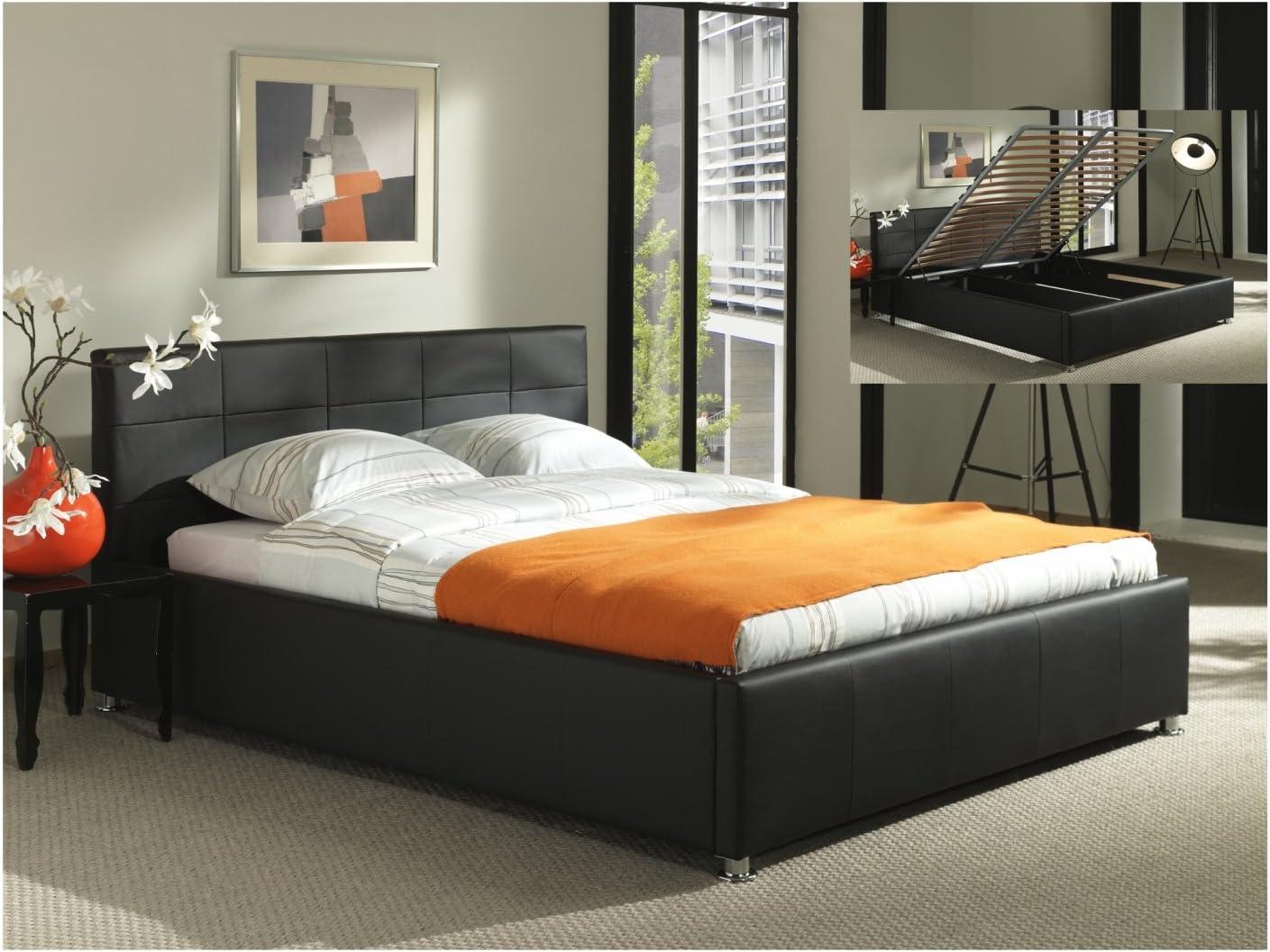 Cama baúl Negro + somier abatibles 140 x 200 cm Flora ...