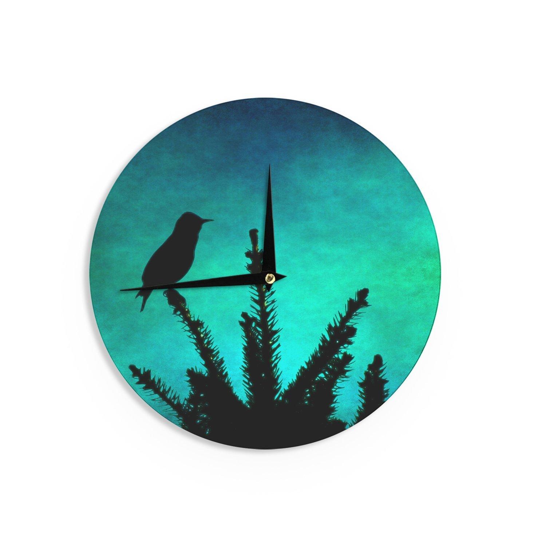 Kess InHouse Sylvia Coomes Bird Silhouette Teal Black Wall Clock 12-Inch