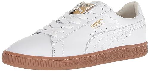 PUMA Mens Basket Classic Gum Deluxe Sneaker, White-Metallic Gold, ...