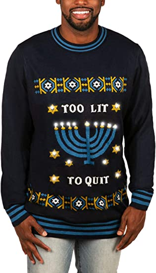 Tipsy Elves Hanukkah Too Lit to Quit Light Up Sweater Funny Blue LED Ugly Holiday Sweater