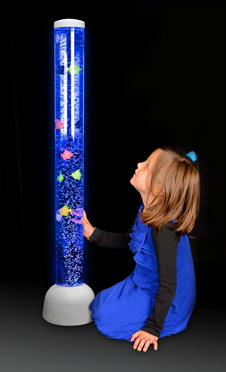 Large Bubble Tube Floor Novelty Lamp With Fish And Led Lights : Playlearn Large - Bubble Tube LED Light Floor Novelty lamp with Fish, Balls... eBay
