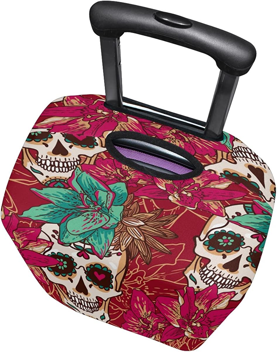 LAVOVO Skull Hearts And Flowers Luggage Cover Suitcase Protector Carry On Covers