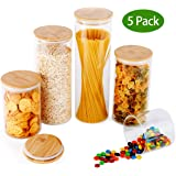 Glass Food Storage Containers with Lids,MEETSUN Glass Canister Set of 5,Large Kitchen Clear Glass Jar with Airtight…