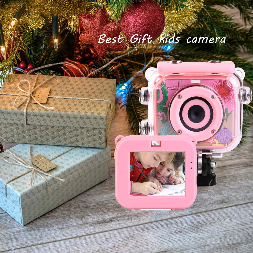 denicer Waterproof Children's Camera with 2.0 Inch LCD Display 12MP HD Kids Underwater Camera Camcorder with 32G SD Card for 4-12 Girls Festive/Birthday Gift-Pink by denicer (Image #6)
