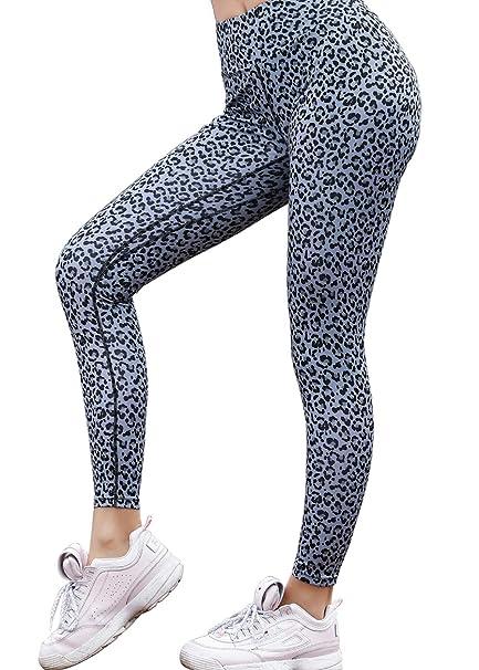aba4d01677e30 Women's High Waist Scrunch Butt Leopard Printed Yoga Pants Leggings Workout  Running Ruched Butt Lift Tights