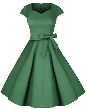 NALATI Women Elegant Vintage 1950s V-Neck Short Sleeve Solid Color Prom Party Swing Dress