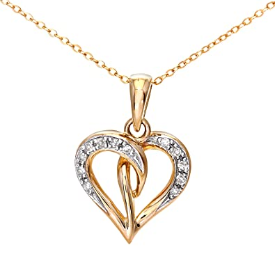 Naava Women's 9 ct White Gold Pave Set Diamond Double Heart Pendant and Chain Necklace of 46 cm WpCe9lj