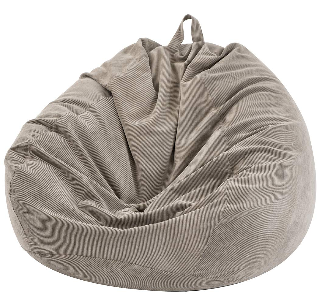 Nobildonna Stuffed Storage Bird's Nest Bean Bag Chair (No Filler) for Kids and Adults. Extra Large Beanbag Cover Stuffed Animal Storage or Memory Foam Soft Premium Corduroy Covers (Warm Gray) by Nobildonna