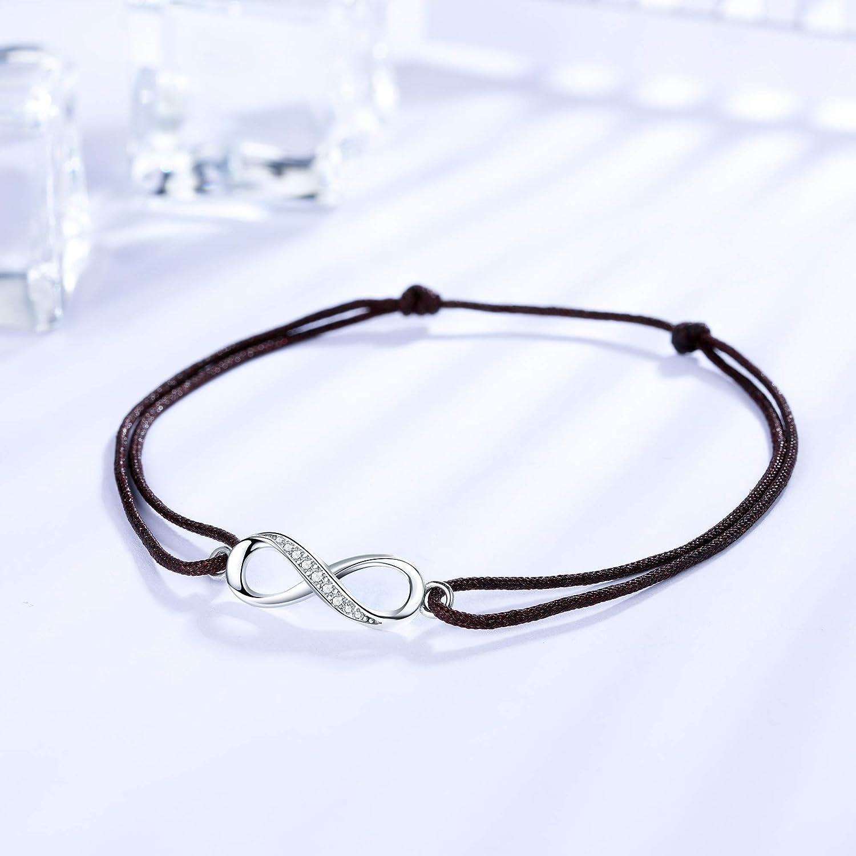 J.endear Bracelet de cheville avec symbole infini pour femme et fille Fait main 34 cm r/églable Cadeau damiti/é