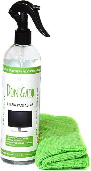 DON GATO - Limpia Pantallas + Paño Microfibras (500ml) para Televisor, Tableta, Ordenador portátil, LCD, LED, Teléfono móvil. Hecho con productos naturales y respetuoso con el medio ambiente.: Amazon.es: Electrónica