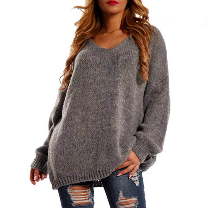 Made Italy Damen Winter Pullover Strickpullover Oversize Loose Fit Jumper One Size