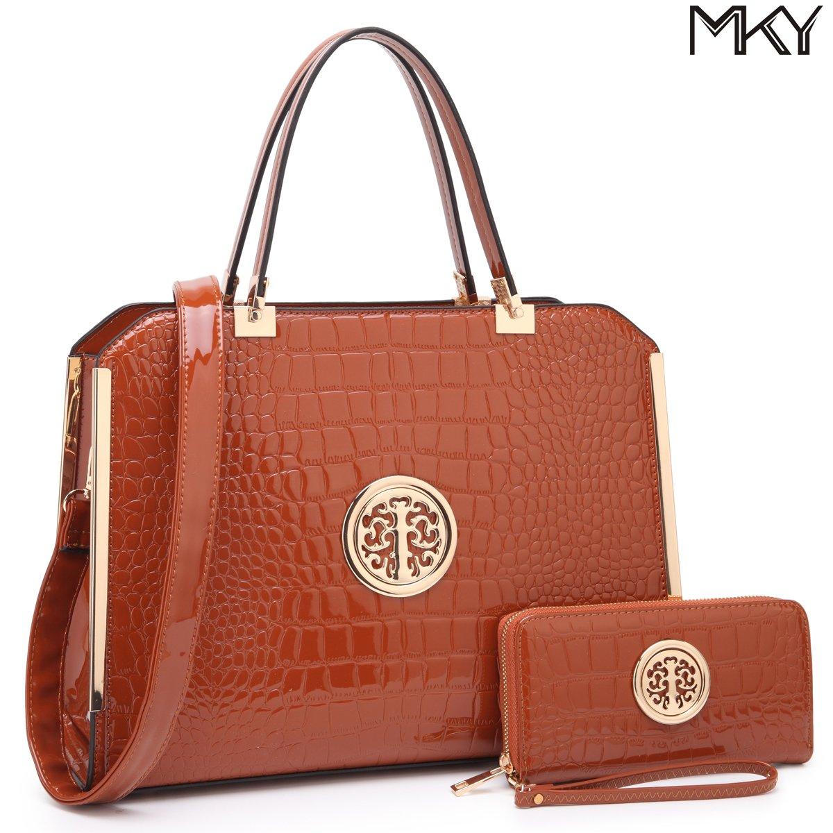 MKY Large Satchel 2 Pieces Handbag Designer Purse Multicolor w/ Wallet Shoulder Strap Brown