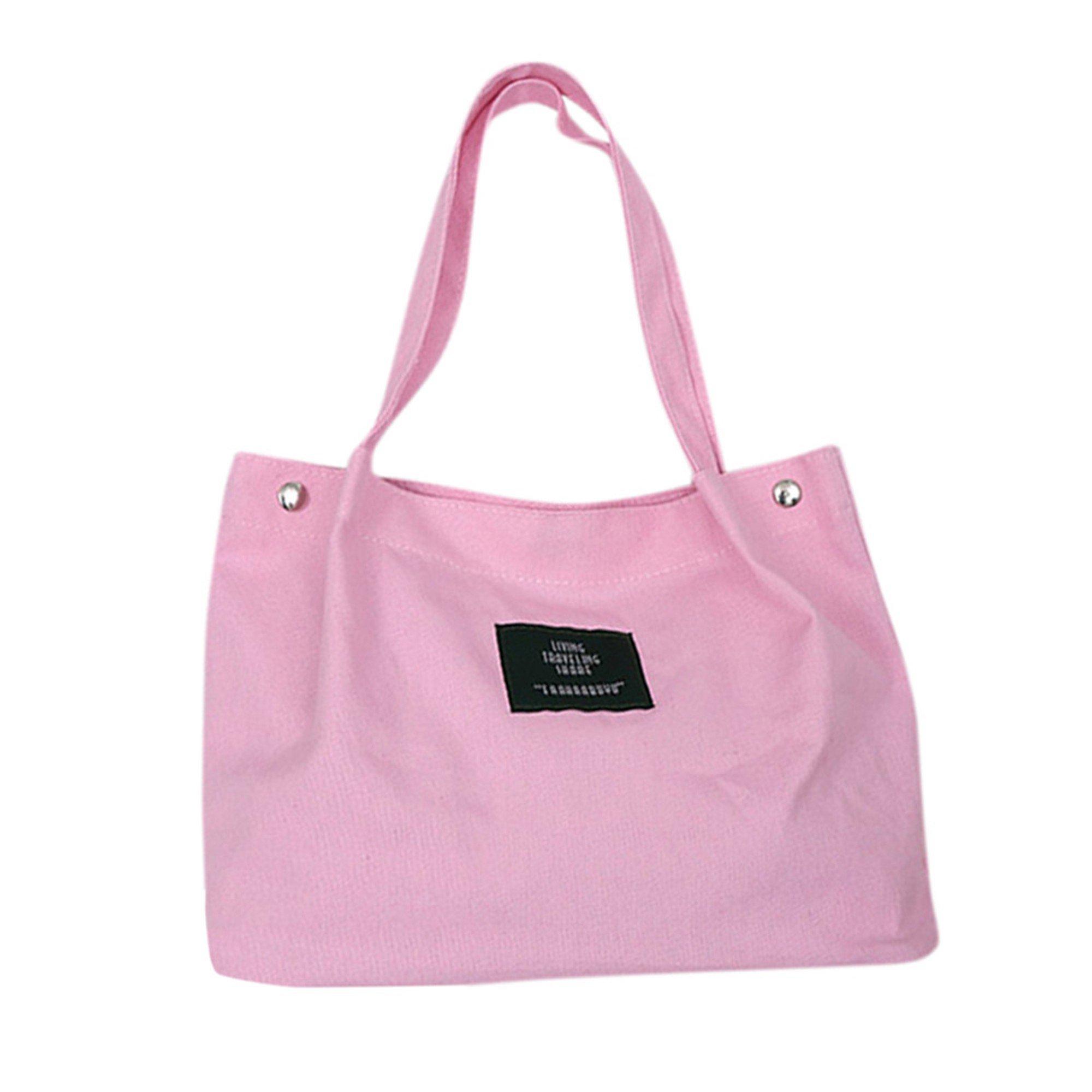 SFE-Shopping Bag,Canvas Tote,Bag Shopping Bag Tote,Clear Shopping Bag Security Work Tote Shoulder Bag Womens Handbag (Pink)