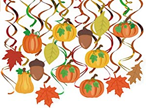 36 Pieces Thanksgiving Hanging Swirls Autumn Fall Hanging Decorations Pumpkin Maple Leaf Acorns Harvest Fall Themed Party Supplies Fall Decor Thanksgiving Ceiling Decorations