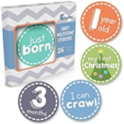 Baby Monthly Milestone Stickers - Set of 26 Premium Baby Belly Stickers for Newborn Boy or Girl First Year - Best Baby Shower Registry Gift or Scrapbook Photo Memory Keepsake