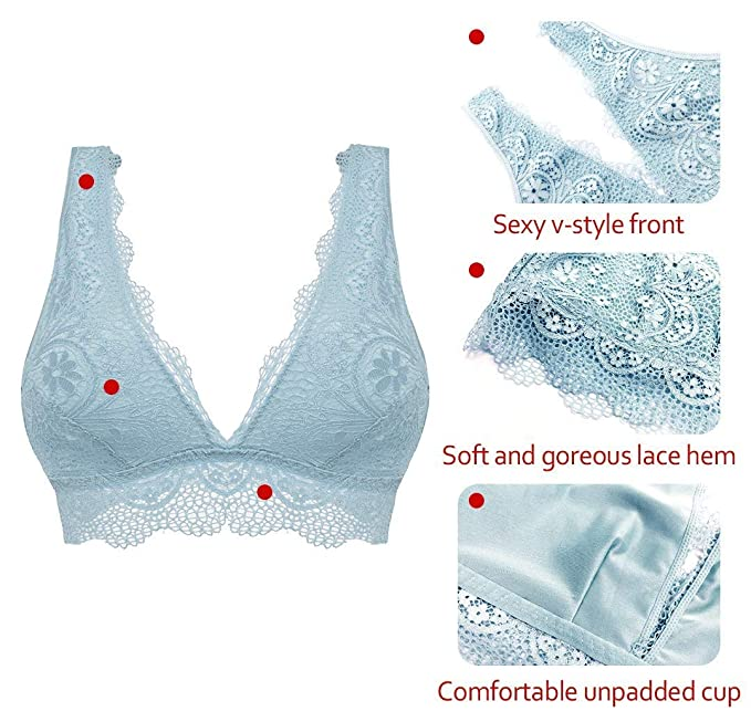 YIANNA Women\'s Comfortable V-neck Lace Bra Top Wirefree Soft Padded ...