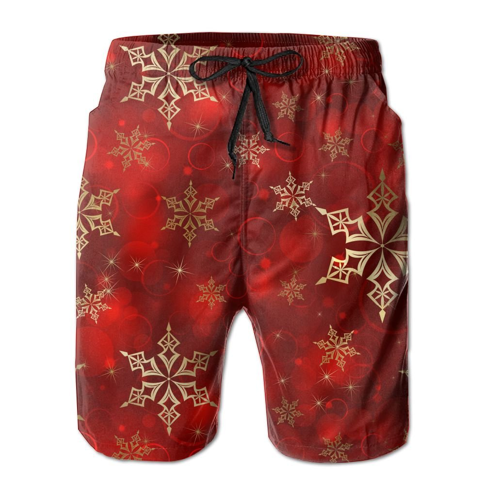 b549cee3a4e White Mens Mens Mens Snowflakes gold Red Pattern Shorts Elastic Waist Swim  Trunks Pockets Lightweight Beach Shorts Boardshort Fathers Day d40e71