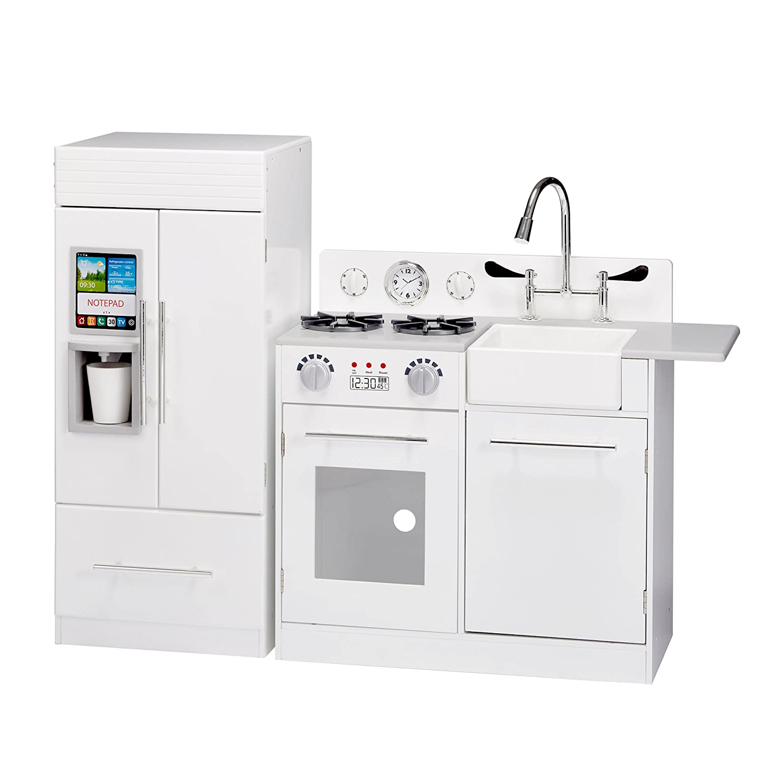 Teamson Kids - TD-12302WR Modern Play Kitchen with Ice Maker | White | Pre-K 2 Pieces Kitchen