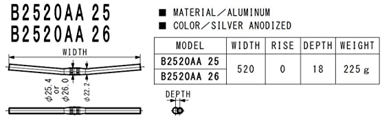 Nitto B2520AA Street bar, silver 25.4