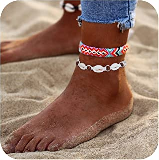 SEWEI Starfish Turtle Anklets Multi Layered Shell Boho Beach Gold Star Charm Jewelry For Women B07FBBSTX4_US