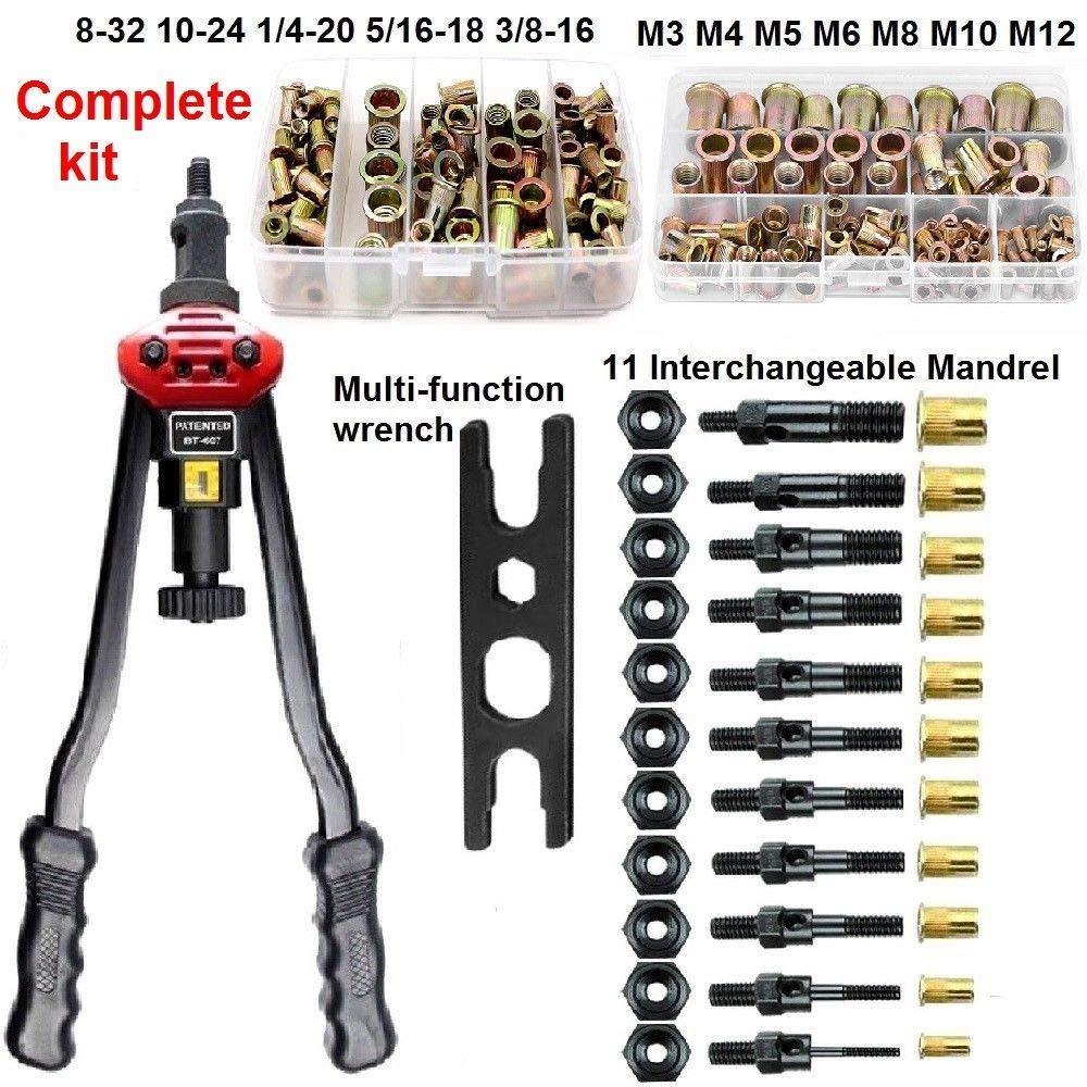 Rivet Nut Setter Kit Rivet Gun Tool Rivnut Setting Hand Riveter NutSert Set Metal Working 11 Mandrels M3,M4,M5,M6,M8,M10,M12 10-24, 1/4-20, 5/16-18,3/8-16, and 160pcs Rivet Nuts Mixed Metric and SAE.