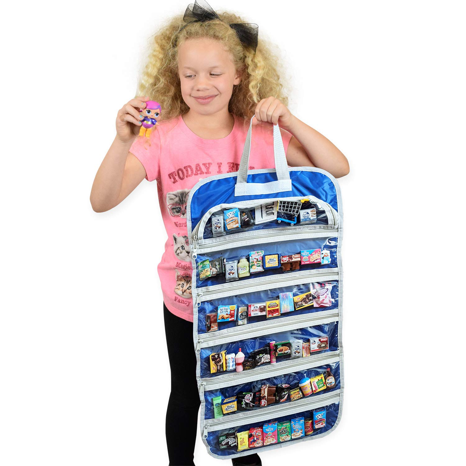 EASYVIEW Toy Storage Organizer Case Compatible Real Littles Mini Brands Unicorn Squad Blue-Silver