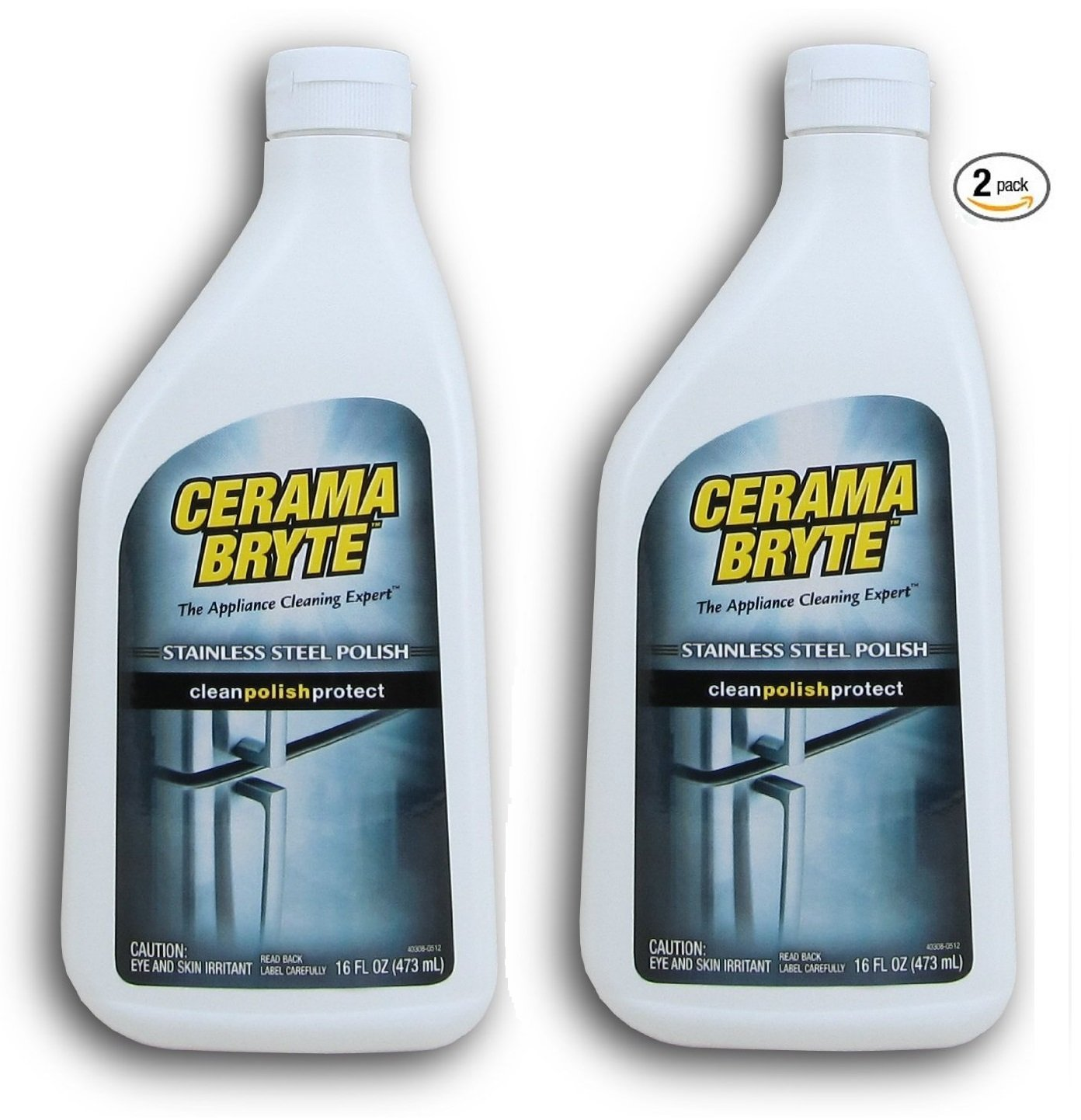 Cerama Bryte Stainless Steel Cleaning Polish (with Mineral Oil), 2 Pack 16oz each by Cerama Bryte