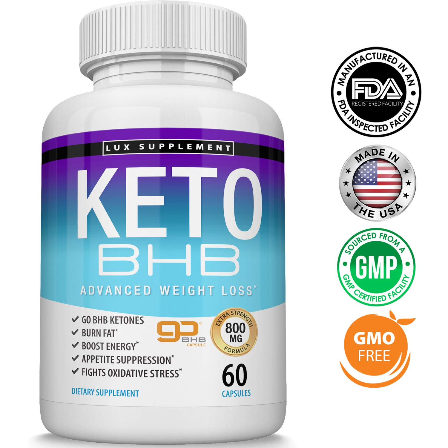 Keto Pills Advanced Weight Loss BHB Salt - Natural Ketosis Fat Burner Using Ketone & Ketogenic Diet, Boost Energy While Burning Fat, Fast & Effective Perfect for Men Women, 60 Capsules, Lux Supplement by Lux Supplement (Image #1)