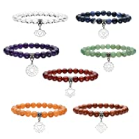 QGEM Bracelet en 7 Chakra Pierre Naturelle Yoga Inde Méditation Healing Balance Chromothérapie d'Energie pour Femme Homme