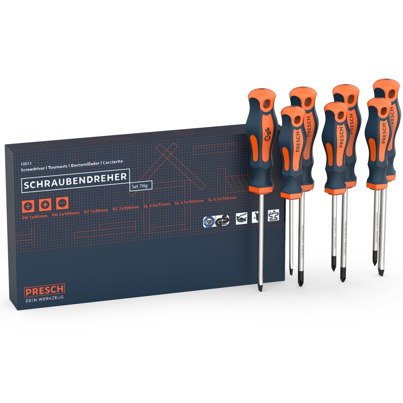 Presch juego de 7 destornilladores con ensayo TÜV GS - destornilladores magnéticos de ranura y cruz - profesional
