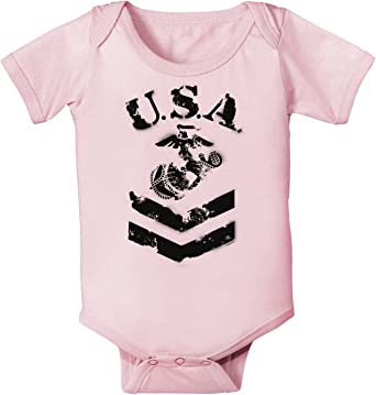 TooLoud USA Military Marine Corps Stencil Logo Infant Onesie