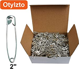 "Otylzto 2"" Safety Pins for Laundry Industrial,Nickel Plated, Rust Resistant (100pcs)"