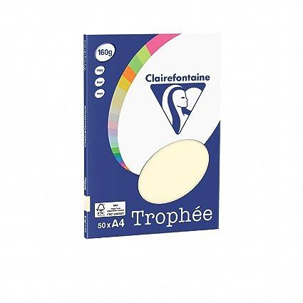Clairefontaine 4154C - Paquete de folios A4 multiusos (50 unidades, 160 g/m²), color marfil