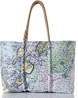 product image for Recycled Sail Material Casco Bay Nautical Chart Tote with Hemp Rope Handles