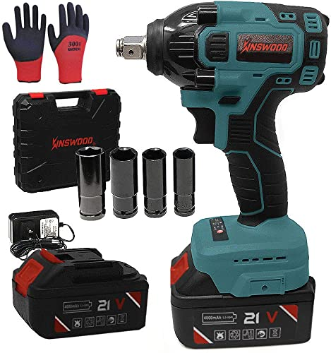 KINSWOOD 21V 2 Batteries Cordless Impact Wrench with Drill Set 8 pcs Heavy Duty