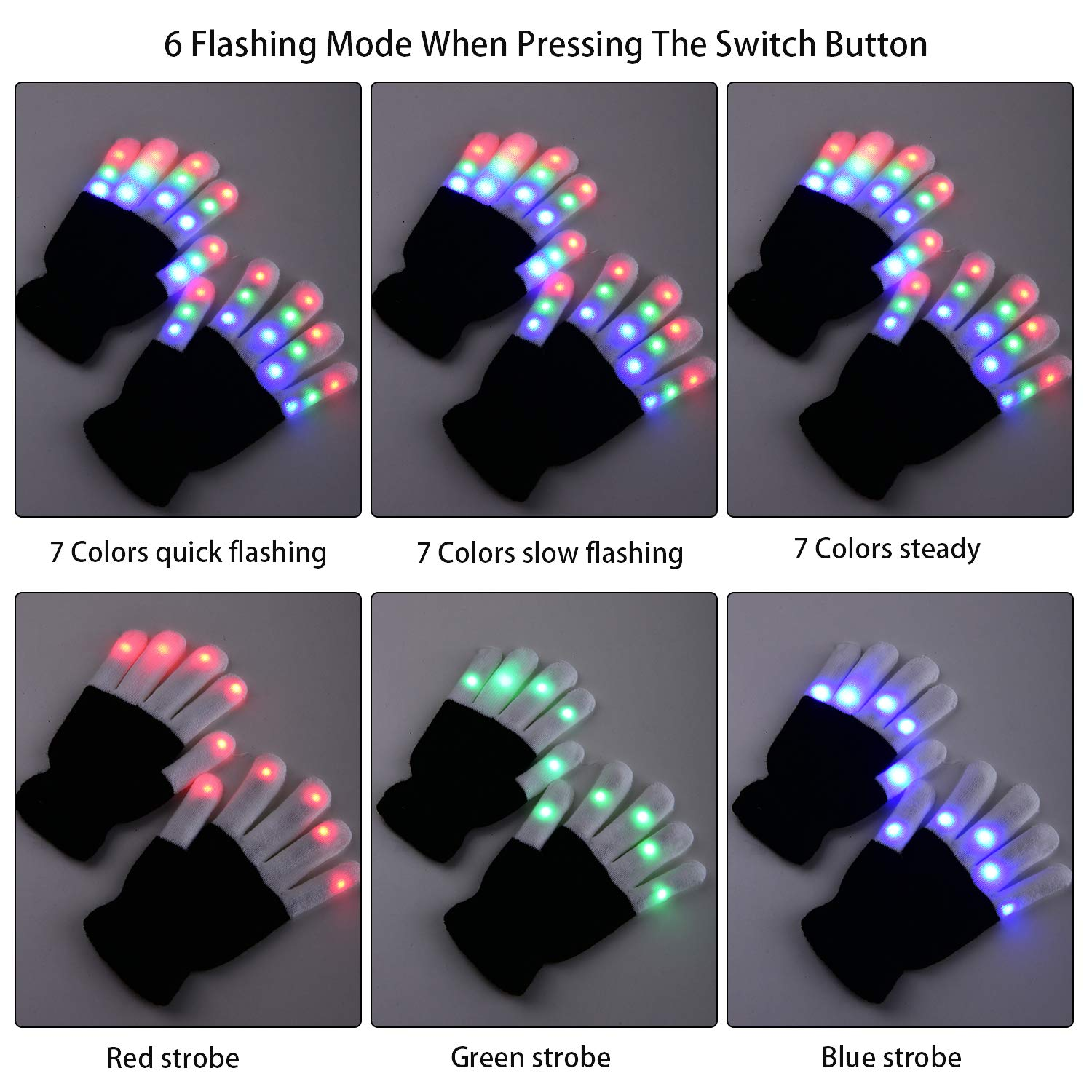 Yostyle Children LED Finger Light Up Gloves,Small 3 Colors 6 Modes Flashing LED Warm Gloves Colorful Glow Flashing Novelty Toys for Kids Boys Girls