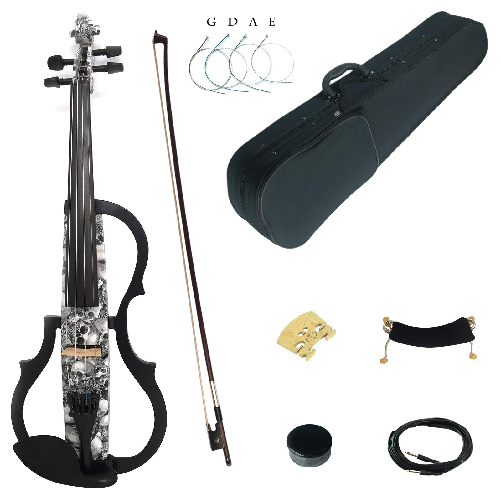 Kinglos 4/4 Black White Skull Colored Solid Wood Advanced 3-Band-EQ Electric / Silent Violin Kit with Ebony Fittings Full Size (SDDS1312) by Kinglos