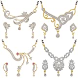 Jewels Galaxy Exclusive Collection Gold Plated Jewellery Set for Women (White)(CB-MS-839)